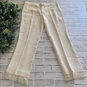 Chloè Fringed and Cropped Cream Pants
